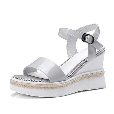 Confort compensée Femme 06840324 Chaussures Nappa de Gris Cuir Sandales Printemps Hauteur clair semelle Noir été rXXAvf1q6