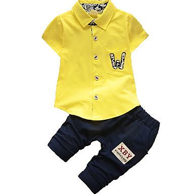 b3c4bdc17da57 Toddler Genç Erkek Temel Solid Kısa Kollu Polyester Kıyafet Seti Beyaz