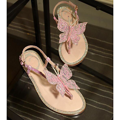 Žene Cipele Sintetika Ljeto Udobne cipele Sandale Ravna potpetica Plava / Pink