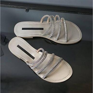 06785747 Daim Chaussons Bout Chaussures ouvert Femme Amande Argent Tongs Confort Talon amp; Eté Noir Plat 6AWq5