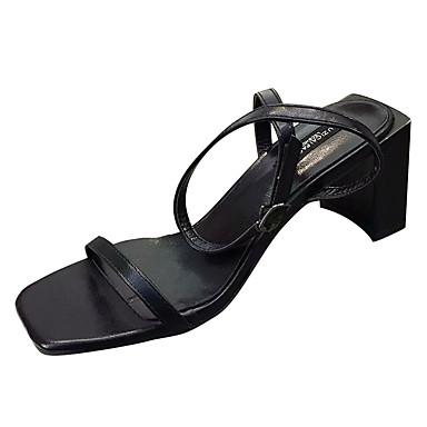 Žene Cipele PU Ljeto Remen oko gležnja Sandale Kockasta potpetica Trg Toe Crn / Bež / Sive boje