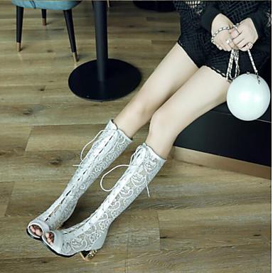 ouvert Blanc Bottier Mode amp; été Polyuréthane Bout Evénement Printemps Femme Soirée Noir Dentelle Bottes Chaussures à Bottes la Beige Talon 06840014 Bottes wZwqPOH8