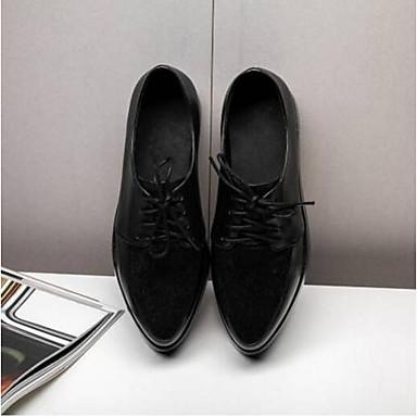 Chaussures Femme Eté Confort Nappa Printemps Creepers Bout Cuir Noir Oxfords 06840603 fermé dxwIwp6