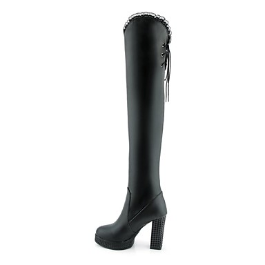Bottier Automne 06837265 Bottes rond Chaussures la à Bottes Blanc Femme Polyuréthane Noir hiver Mode Talon Bout Cuissarde S4qxnBv