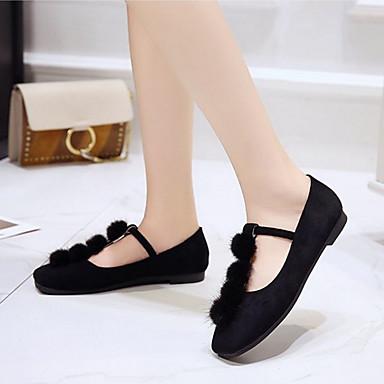 Dedo Verano Tacón PU Mujer Beige Plano Negro Bailarinas Confort cuadrada 06791921 Zapatos qF0FnT7E