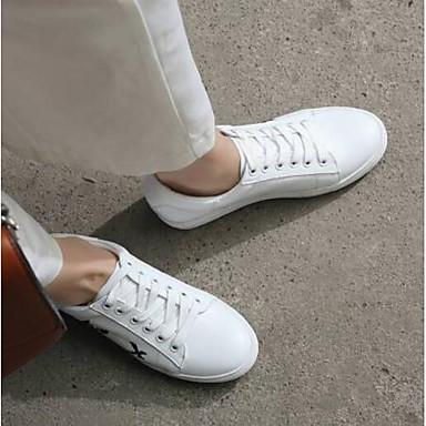 Basket Nappa Eté Cuir Plat Talon 06791357 Printemps Chaussures Femme Blanc Confort Bout rond xwqgnEBYEC