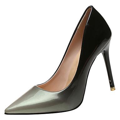 Žene PU Ljeto Obične salonke Cipele na petu Stiletto potpetica Krakova Toe Sive boje / Crvena / Color block / Dnevno