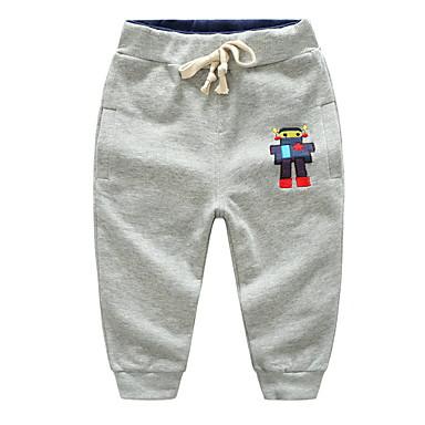 baratos Calças para Meninos-Infantil Para Meninos Básico Diário Estampado Estampado Algodão Calças Cinzento Escuro