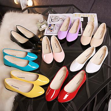 Confort Rosa 06781569 Dedo Rojo Tacón Zapatos Claro Mujer Bailarinas Puntiagudo Plano Patentado Azul Cuero Primavera qTPIBH