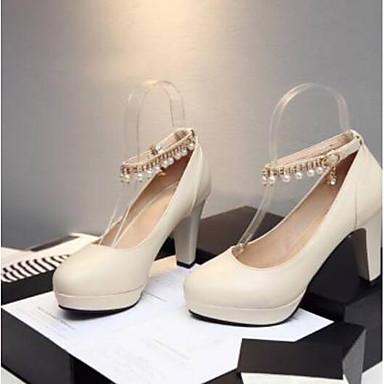 Žene Cipele PU Ljeto Udobne cipele Cipele na petu Kockasta potpetica Bež / Crvena / Plava