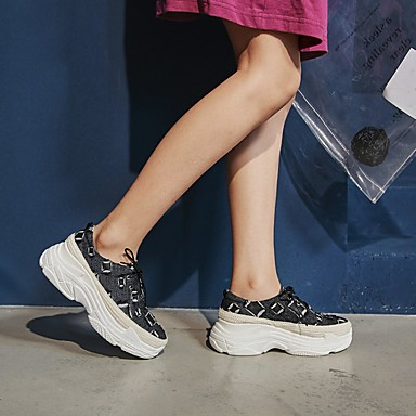 de Bout Creepers Confort Toile Chaussures Noir Femme rond Automne jean Eté Bleu Cuir 06801356 Basket EvqwTzw
