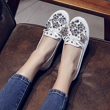 Dedo de bajo On Tacón Negro PU Mujer redondo Blanco Plano Zapatos Paseo Confort 06840635 y Zapatos Otoño taco Slip 7BwX0q6