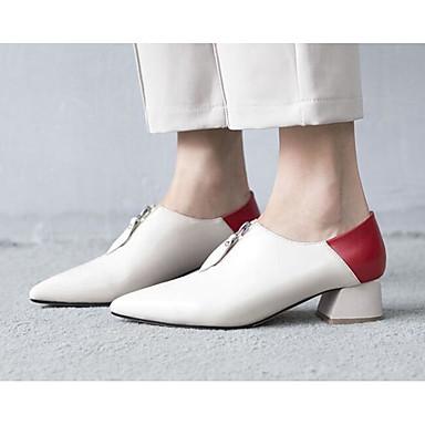 Žene Cipele Mekana koža Proljeće / Jesen Udobne cipele / Obične salonke Cipele na petu Kockasta potpetica Crn / Badem