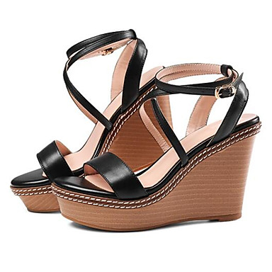 semelle Chaussures de Noir Confort Hauteur Nappa Cuir Femme claire 06774478 Brun compensée Sandales Eté ATvq8vHdw