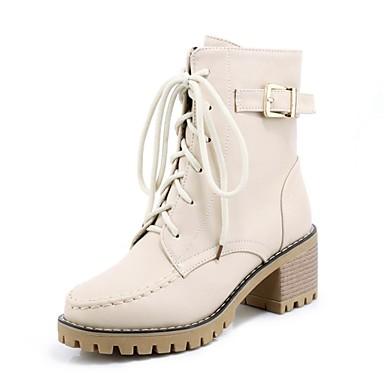 Žene Cipele PU Jesen zima Modne čizme Čizme Kockasta potpetica Okrugli Toe Čizme gležnjače / do gležnja Crn / Bež / Bijela