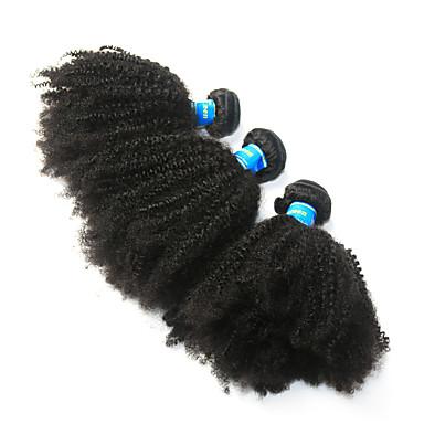baratos Extensões de Cabelo Natural-3 pacotes Cabelo Peruviano Afro Kinky 10A Cabelo Virgem Cabelo Humano Ondulado Afro Kinky Tranças 8-26 polegada Natural Tramas de cabelo humano Melhor qualidade 100% Virgem Extensões de cabelo humano