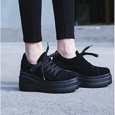 Žene Cipele Brušena koža Proljeće / Ljeto Udobne cipele Sneakers Wedge Heel Okrugli Toe Crn / Braon