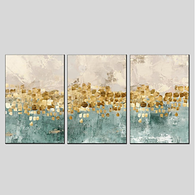 billige Trykk-Trykk Strukket Lerret Trykk - Abstrakt Moderne Tre Paneler Kunsttrykk