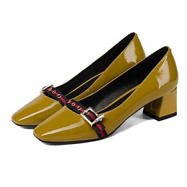 06840810 Femme Chaussures Chaussures Confort Talon Noir Jaune Talons Printemps Nappa à Bottier Cuir 76rq7R