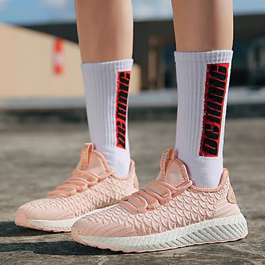 Sintéticos Confort redondo Negro Running 06848695 amp; Primavera Malla Zapatos Mujer Rosa Atletismo Blanco Tacón Fitness Zapatillas Dedo de Otoño Plano YqCER
