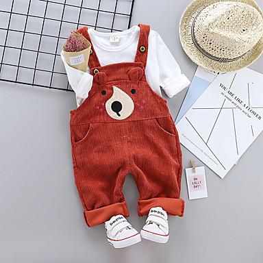 povoljno Odjeća za bebe Za dječake-Dijete Dječaci Vintage Dnevno / Sport Jednobojni Dugih rukava Regularna Pamuk Komplet odjeće Braon / Dijete koje je tek prohodalo