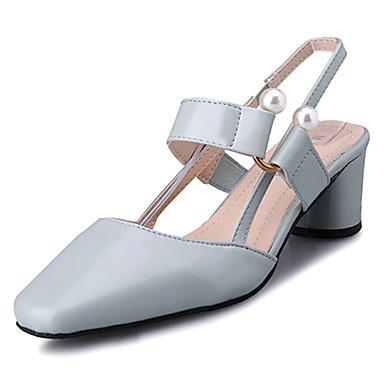 Verano 06855686 Talón Noche Pedrería y Fiesta cuadrada Claro Zapatos Dedo Sandalias Azul Mujer PU Cuadrado Tacón Caqui Descubierto tTwfExFq