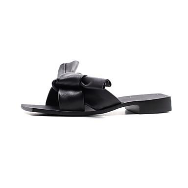 amp; de Chaussures Tongs Talon mouton Plat Printemps Noir été Blanc Confort Peau Femme 06843269 Chaussons w8fpdExw