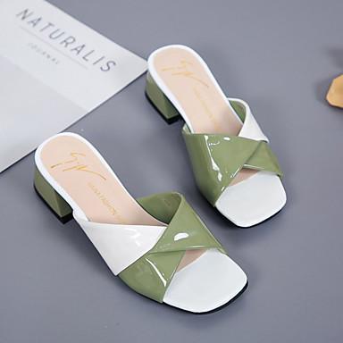 cuadrada Tacón Verde PU 06854424 Mujer Zapatos Verano Sandalias Dedo Talón Descubierto Beige Cuadrado Rosa AaZz1wq
