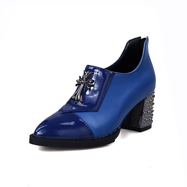 27b918c3c1d Women's Boots Bootie Chunky Heel Pointed Toe Patent Leather /  PU(Polyurethane) Booties / Ankle Boots British Spring & Fall Black / Dark  Blue / Red #06894809