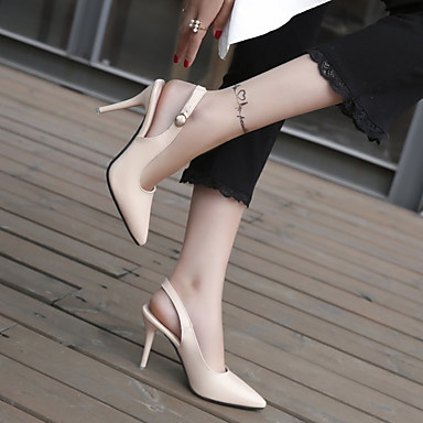 Mujer Almendra 06863912 Primavera Zapatos Negro Talón Dedo Tacones PU Puntiagudo Tacón verano Descubierto Stiletto gBgxrw7q