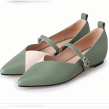 Plat Cuir Confort fermé Eté Chaussures Printemps Amande 06856939 Bout Femme Ballerines Talon Vert Noir Nappa a8xBqA
