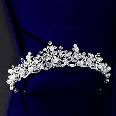 Crystal / Rhinestone / Alloy Tiaras with Faux Pearl / Crystal / Rhinestone 1 Piece Wedding / Birthday Headpiece
