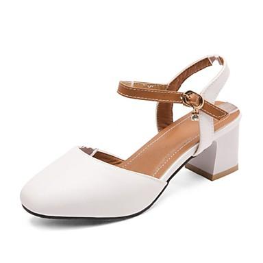 Blanco PU Zapatos Beige Tacón 06850375 Sandalias Rosa Mujer Descubierto Verano Cuadrado Talón Z8Twq5