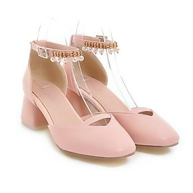 Tacones Cuadrado Verano PU Zapatos Blanco Azul Tacón Confort 06858650 Rosa Mujer EYqI5wW