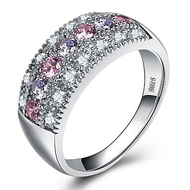 povoljno Fini nakit-Žene Prsten / Belle Ring / Micro Pave Ring Kubični Zirconia 1pc Pink Platinum Plated / S925 Sterling Silver / Bijelo zlato dame / Boho / Boja Vjenčanje / Party / Karneval Nakit odjeće