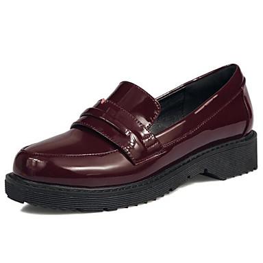 Tacón y Rojo Punta Slip Negro PU Mujer Plano de taco bajo Confort Verano Zapatos On Zapatos cerrada 06848278 Primavera zBnT67q