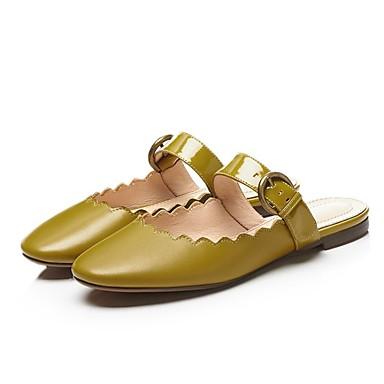 Femme Bas Vert Cuir Sabot Talon Blanc 06858085 Marron amp; Mules Chaussures Confort Eté rBP8nCprqw