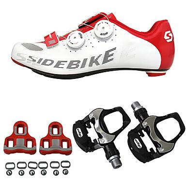 SIDEBIKE Adulto Zapatillas de ciclismo con pedal y cala / Calzado para Bicicleta de Carretera Fibra de Carbono Amortización Ciclismo Rojo / Blanco Hombre