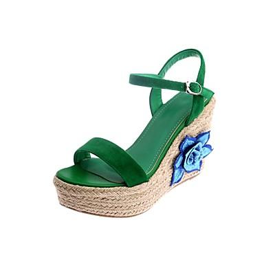 06862039 Vert été Confort de semelle Hauteur Femme Rose Sandales Daim Printemps Chaussures compensée qRwxFvt7
