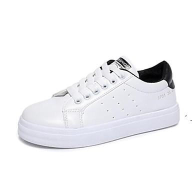 Negro Blanco Mujer Verde Zapatos de deporte Punta Tacón PU Verano Plano cerrada Zapatillas 06849513 Confort r7drOxP