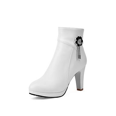 Bottier hiver Bottes Beige Polyuréthane Automne Noir Femme 06862602 Talon Blanc Confort Chaussures xqXtHwWwF0