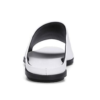 Femme Noir Eté Chaussures Talon Blanc Plat Nappa Sandales Cuir de confort 06869932 rqrxXwvpS