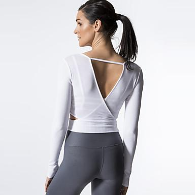 Mujer Cortado Yoga Top Deportes Moda Licra Camiseta por Running ... 9c656383dabf2