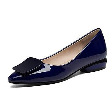 Bleu Printemps 06857430 Femme Blanc Cuir Noir Talon Plat Ballerines Chaussures Verni Confort wvZq6a