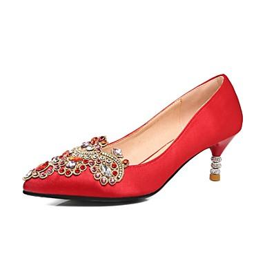 Femme de Talon Aiguille Confort Chaussures été 06848500 Rouge mariage Satin Printemps Chaussures r8wqF67r