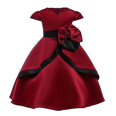 baratos Princesa-Infantil Para Meninas Vintage Moda de Rua Festa Para Noite Sólido Manga Curta Altura dos Joelhos Vestido Vermelho / Algodão