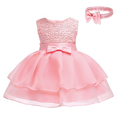 2d13e3ddda94b Baby Girls  Active   Basic Party   Birthday Solid Colored Lace Sleeveless  Above Knee Cotton   Polyester Dress Yellow