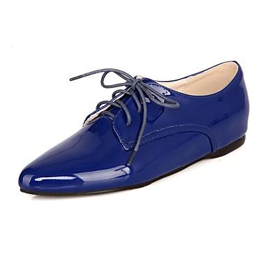 Zapatos Primavera Cuero Tacón Negro 06862135 Patentado verano Confort Azul Mujer Plano Oxfords Wine dqtgSnd