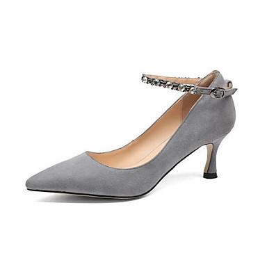Talon Eté Femme Printemps Aiguille Talons Basique Noir Escarpin 06864629 Gris Chaussures Daim Chaussures à qUpU4z