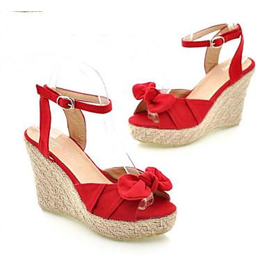Blanco Zapatos Mujer Cuña Rojo Sandalias Tacón Confort 06848558 Primavera Tela Azul 1qrdw0q